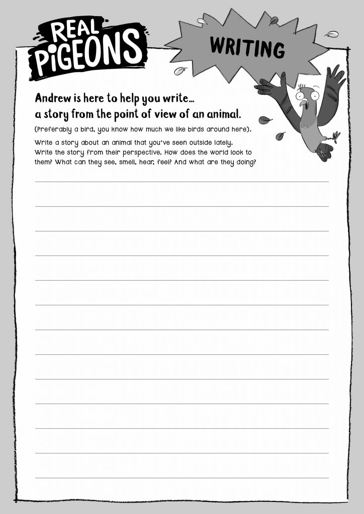 Activity sheet for writing a story from a bird or animal's perspective